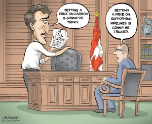 "Editorial Cartoon by Graeme MacKay, The Hamilton Spectator Ð Tuesday September 20, 2016 Trudeau's challenge is to lead on pricing carbon and building pipelines Canada's first commitment to reduce greenhouse gas emissions was made by Brian Mulroney in 1988, at an international conference on the ""changing atmosphere"" in Toronto. It was pledged then that Canada would seek a 20-per-cent reduction in its annual greenhouse gas emissions by 2005. Two years later, that target was adjusted to merely stabilizing GHGs at 1990 levels by 2005. Still, that would have kept emissions to 613 megatonnes per year. Instead, in 2014, the last full year for which data is available, Canada emitted a total of 732 megatonnes of greenhouse gases, a 20-per-cent increase since 2005. If Mulroney had put Canada on a path to achieving that target of 1990, if Jean ChrŽtien or Paul Martin or Stephen Harper had set Canada on its way to achieving any of the targets they subsequently set, Justin Trudeau would now be heading into a merely interesting fall, the biggest issue of which would be the negotiation of new health accords with the provinces or the consideration of a new electoral system. In November, he is due to meet the premiers to finalize a national plan on climate change, or at least the makings thereof. By Dec. 19, his cabinet must decide whether to approve the Trans Mountain pipeline proposal that would transfer oil from Alberta to the port of Vancouver. And between those two, Trudeau gets to wrestle with questions of federalism, the national economy and the future of humanity on a warming planet. The climate change plan seems likely to include some kind of mechanism for pricing carbon.ÊÊAnd while putting a price on carbon has become the focal point of debate about what to do about climate change, pipelines have, fairly or not, become a focus of attention for those who worry about the impact of GHGs on the planet. The prime minister has, either explicitly or implicitly, committed"