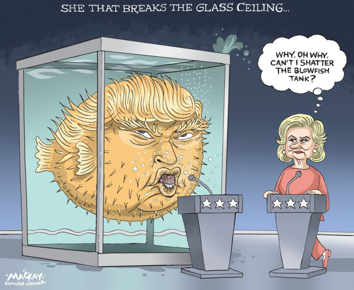 Editorial Cartoon by Graeme MacKay, The Hamilton Spectator Ð Wednesday September 28, 2016 Clinton, Trump throw punches but fail to get a knockout Hillary Clinton and Donald Trump, speaking to each other with undisguised disdain, sharply disagreed on how to boost the American economy and uplift minority communities in a debate Monday night while hammering each other on matters of ethics, character, and veracity. Clinton launched into lacerating attacks Ñ targeting TrumpÕs refusal to release his tax returns, his business record of not paying contractors, and his demeaning comments toward women Ñ as Trump dismissed the criticism as sound bites delivered by a typical politician. Even as he appeared to flail at times in contrast to her smoother performance, Trump tried to drive home the message that he is an outsider unafraid to take on elites. He repeatedly blamed Clinton for failing to solve problems over three decades in government roles. ÒI have a feeling by the end of this debate IÕll be blamed for everything,Ó Clinton said. ÒWhy not?Ó Trump responded. Trump was feisty but at times bordered on rude, frequently interrupting Clinton and speaking over the moderator, or leaning over into the microphone and shouting, ÒWrong!Ó The former secretary of state was more patient, letting him speak for long stretches without jumping in, then coming back to correct his statements with a smile. It seemed part of a strategy to let Trump hang himself on his own words. ÒJust listen to what you heard,Ó she said at one point. She seemed more prepared with zingers designed to make an impact, while Trump often riffed without a planned response. (Source: Boston Globe)Êhttps://www.bostonglobe.com/news/nation/2016/09/26/hillary-clinton-and-donald-trump-clash-first-presidential-debate/dYDbVSFzRbzLG2yXtLQHMJ/story.html USA, Donald Trump, Hillary Clinton, puffer fish, blowfish, debate, election, polls, glass ceiling
