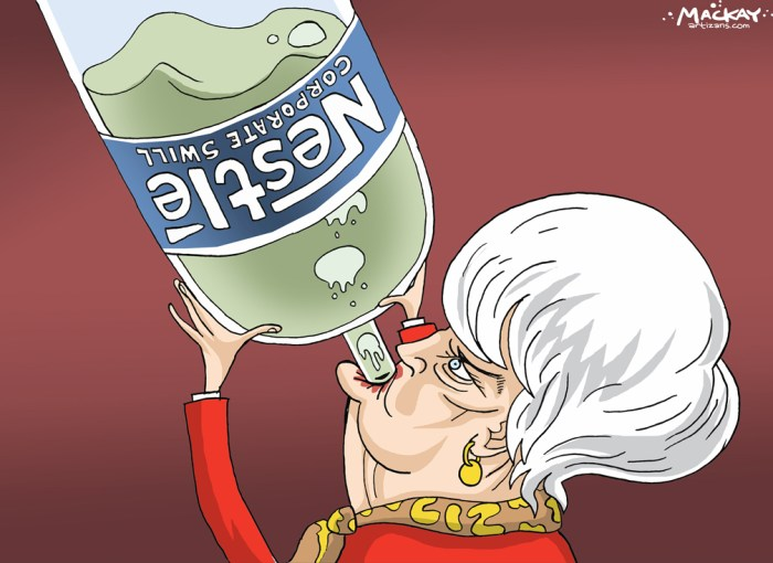 "Editorial Cartoon by Graeme MacKay, The Hamilton Spectator Ð Friday September 30, 2016 Ontario minister says opposition to NestlŽ water taking based on misinformation A senior Ontario cabinet minister is coming to NestlŽ's defence, suggesting public opposition to the renewal of the multinational company's water-taking permit in a small community is based on ""misinformation.Ó There has been vocal opposition and protests against renewing NestlŽ's permit in Aberfoyle, after the area 110 kilometres northwest of Toronto suffered a drought this summer that forced residents to restrict their water use. Treasury board president Liz Sandals, who represents nearby Guelph, said Wednesday she finds it frustrating that many residents who have been criticizing NestlŽ are often armed with the wrong facts. ""There's no doubt that there is a lot of concern, but my point to you is that many of the things that people will express a concern about actually turn out to be based on misinformation,"" she said. Sandals said many residents didn't know that NestlŽ agreed to reduce water takings from Aberfoyle because of the drought, and insisted it was routine to see so many people voicing opposition to the bottled water company's permit renewal. ""It is actually always true that whenever there is a permit to take water (by NestlŽ) there are thousands of comments that go to the Ministry of the Environment,"" she said. ""I think what is different this time is that it has caught more provincial media attention.Ó (Source: Hamilton Spectator)Êhttp://www.thespec.com/news-story/6884326-ontario-minister-says-opposition-to-nestl-water-taking-based-on-misinformation/ Ontario, Guelph, water, bottled, Nestle, Liz Sandals, koolaid, corporation"