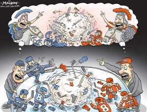 "Editorial Cartoon by Graeme MacKay, Editorial Cartoonist, The Hamilton Spectator - Wednesday November 28, 2007 Probe into hockey brawl between 8-year-olds A decision on whether to lay a criminal charge in connection with a hockey brawl involving eight-year-olds at a tournament in Guelph, Ont. will likely come on Wednesday, says a police spokesperson.Ê ""It's the interaction between the two coaches -- whether or not that was a consensual fight or an assault,"" Sgt. Cate Welsh of the Guelph Police told CTV.ca on Tuesday.Ê Niagara Falls Thunder coaching staff allegedly spat at a counterpart with the Duffield Devils, Welsh said.Ê But what had everyone talking is the bench-clearing brawl erupting at the game's end on Friday, which involved such young players. Players for both sides belong to Novice AAA teams.Ê ""This is a really rare incident,"" Richard Ropchan, executive director of the Ontario Minor Hockey Association told CTV.ca, adding he can't think of a similar one in his nine years with the OMHA.Ê ""Certainly the fact that eight-year-olds are involved -- well, that certainly got my attention.""Ê Ropchan added that the brawl ""points right to the adults involved. You can't blame the kids for that.""Ê Witnesses say there were cheap shots throughout the game, culminating with a fight. (Source: CTV News)Êhttp://www.thestar.com/news/canada/2007/11/26/ontario_leads_in_child_poverty.html Hockey, fighting, contact, brawl, coaches, aggressive, brutality, history, Roman, gladiators, Rome, war, violence, editorial cartoon, 2007"