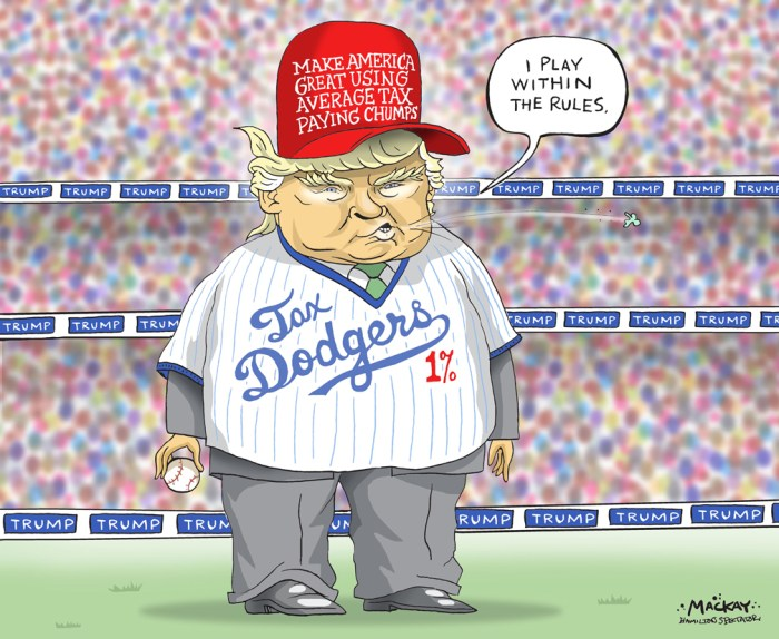 """Editorial Cartoon by Graeme MacKay, The Hamilton Spectator Ð Tuesday October 4, 2016 Trump tax records suggest no federal taxes for years, New York Times reports Donald Trump's business losses in 1995 were so large that they could have allowed him to avoid paying federal income taxes for as many as 18 years, according to records obtained by the New York Times. In a story published online late Saturday, the Times said it anonymously received the first pages of Trump's 1995 state income tax filings in New York, New Jersey and Connecticut. The filings show a net loss of $915,729,293 in federal taxable income for the year. Trump's campaign released a statement on Saturday lashing out at the Times for publishing the records and accused the newspaper of working to benefit the Republican nominee's presidential rival, Democrat Hillary Clinton. """"Mr. Trump is a highly skilled businessman who has a fiduciary responsibility to his business, his family and his employees to pay no more tax than legally required,"""" the statement said. """"That being said, Mr. Trump has paid hundreds of millions of dollars in property taxes, sales and excise taxes, real estate taxes, city taxes, state taxes, employee taxes and federal taxes, along with very substantial charitable contributions,"""" it said. Trump initially said that he would make his tax returns public during the course of his campaign but later switched course, citing what he said were years of ongoing IRS audits and the advice of his attorneys to keep them private as those audits proceed. Tax experts say there's no prohibition on Trump releasing his returns. Since 1976, every major party presidential nominee has released tax returns. Clinton has publicly released nearly 40 years' worth, and Trump's running mate, Indiana Gov. Mike Pence, has released 10 years of his tax returns. (Source: CBC News) http://www.cbc.ca/news/world/trump-nyt-taxes-1.3787914 USA, United States, politics, taxes, tax, income, Donald Trump, dodger, baseb"""