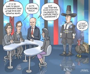 "Editorial Cartoon by Graeme MacKay, The Hamilton Spectator Ð Saturday October 8, 2016 Conservative leadership hopeful Brad Trost questions Andrew Scheer about social conservatism Saskatchewan Member of Parliament and Conservative leader hopeful Brad Trost says his policies make him a true social conservative choice. ""I've got about five or six policy platform items that will be of interest to social conservatives,"" Trost said in Ottawa on Monday. Trost wouldn't go into detail what his policy platform planks will be but would only say ""euthanasia, abortion and a couple of other issues,"" will be included. ""These are things I believe. When you see my policy platforms they will demonstrate they are social conservative proposals that are not only popular inside the Conservative party but the general public.Ó First elected in 2004, Trost has been vocal on many issues, including same-sex marriage. Recently, Trost's campaign started running ads with a picture of two fingers side by side, with the message ""Marriage is the union of one man, one woman.Ó He's also taking aim at fellow Saskatchewan MP Andrew Scheer, who also recently entered the leadership race. Trost says that comments he's read of late leads him to believe Scheer is not a true social conservative. When Scheer launched his leadership campaign last week, he indicated that abortion and same-sex marriage were issues he considered resolved within the party and he would not re-visit them. ""I don't think he's taking a pro-life stand in this campaign,"" said Trost. ""I'm not sure if Mr. Scheer is a social conservative. That's something he's going to have to deal with. One of the social conservative groups referred to his statements the other day as pro-abortion.Ó In response to Trost's latest volley, Scheer simply said ""no comment.Ó Trost also sounded off on Harper's time as Prime Minister, saying the he doesn't believe Harper was a social conservative either. (Source: CBC News) http://www.cbc.ca/news/canada"