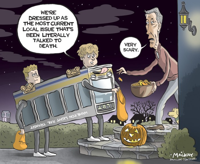 "Editorial Cartoon by Graeme MacKay, The Hamilton Spectator Ð Thursday October 20, 2016 Voting to kill LRT would be difficult, Hamilton councillors told Council still has the power to derail LRT even with $70 million already spent on the project. But voting to kill the 100-per-cent provincially funded, $1-billion project would be procedurally difficult and fraught with legal risk, councillors were told during a 12-hour marathon meeting Tuesday. The prospect of a potential vote for or against LRT by a divided council attracted 150-plus residents to watch as well as two dozen who spoke publicly for and against the project. Enthusiasm for such a vote any time soon fizzled after lawyer George Rust-D'Eye suggested a move to delay or stop LRT would require two-thirds council support because of prior votes to move the project forward. Two councillors Ñ LRT supporter Sam Merulla and vocal critic Terry Whitehead Ñ did put forward a motion late in the meeting suggesting Metrolinx look at improving A-line transit up the Mountain alongside the funded LRT project. Metrolinx project head Andrew Hope said it was too early to say if the agency would look at such a request. ""We would need to have further discussions with the city to understand what the actual intent is here,"" he said. Other councillors like Judi Partridge and Brenda Johnson, however, asked if council had any LRT ""off-ramps"" remaining, including major route changes or even a rethink to pursue bus rapid transit. City manager Chris Murray said council still has an opportunity to vote on ""major milestones"" including the environmental assessment submission next spring, an operating and maintenance agreement and a ""master agreement"" with Metrolinx. He emphasized council has already committed ""in good faith"" to moving LRT ahead with prior votes, including an Aug. 14, 2015 decision to create an LRT implementation office to work on the updated project that calls for a line from McMaster University to the Queenston tra"