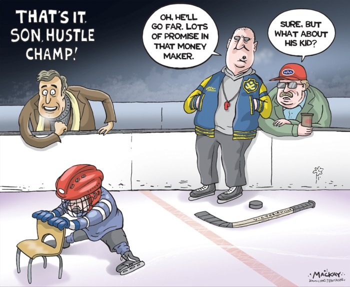 "Editorial Cartoon by Graeme MacKay, The Hamilton Spectator Ð Saturday October 29, 2016 'Pretty Good Rich Kids': Reaching the OHL takes more than talent What does it take to make it to the Ontario Hockey League? Skill? Certainly. Speed? Sure. Strength? No question. But it also takes something else Ñ something over and above raw talent and physicality. To make it to the OHL, you also need a winning ticket in the lottery of birth. A year-long Spectator investigation finds a highly significant number of the league's Ontario-raised players are from suburban neighbourhoods where most people are well-educated, earn high incomes and live in expensive homes. The odds of them crossing paths with someone living in poverty are extremely low. For anyone familiar with the extraordinary cost of playing hockey in Ontario Ñ $15,000-or-so annually for an elite AAA player and getting higher Ñ this won't come as a shock. If you want to be the next Sidney Crosby, says Wilfrid Laurier University's William McTeer, ""the first question you have to ask is how much money do your parents have and are they prepared to invest in your future as an athlete.Ó But cost isn't the only thing keeping children in Hamilton and across Ontario out of the game. Several factors, including geography, public policy and the funding mechanisms of non-profits, are making it increasingly difficult for low- and middle-income families to access the sport, particularly at competitive levels. ""I think it's tragic,"" says Philip White, a sport sociologist at McMaster University. ""You live in a culture where everybody is supposed to have an opportunity to advance and kids are simply shut out.Ó Our analysis is grounded in data. Stick with us while we get the heavy stuff out of the way. (Continued: Hamilton Spectator) http://www.thespec.com/sports-story/6931904--pretty-good-rich-kids-reaching-the-ohl-takes-more-than-talent/ Canada, Ontario,ÊHamilton, hockey, soccer, amateur, sport, professional, money, wealth,"