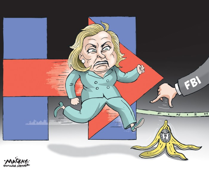 Editorial Cartoon by Graeme MacKay, The Hamilton Spectator Ð Tuesday November 1, 2016 FBI gets warrant to search new Clinton emails The FBI has obtained a warrant to begin reviewing newly discovered emails that may be relevant to the Hillary ClintonÊemail server investigation, a law enforcement official told The Associated Press. FBI investigators want to review emails of longtime Clinton aide Huma Abedin that were found on a device seized during an unrelated sexting investigation of Anthony Weiner, a former New York congressman and AbedinÕs estranged husband. The official, who has knowledge of the examination, would not say when investigators might complete the review of AbedinÕs emails but said Sunday they would move expeditiously. The Clinton email inquiry, which closed without charges in July, resurfaced on Friday when FBI Director James Comey alerted members of Congress to the existence of emails that he said could be pertinent to that investigation. The FBI wants to review the emails to see if they contain classified information and were handled properly, the focus of the earlier Clinton inquiry. Separately Sunday, another law enforcement official said FBI investigators in the Weiner sexting probe knew for weeks about the existence of the emails potentially related to the probe of ClintonÕs server. A third law enforcement official also said the FBI was aware for a period of time about the emails before Comey was briefed, but wasnÕt more specific. In his letter that roiled the White House race, Comey said heÕd been briefed on Thursday about the Abedin emails and had agreed that investigators should take steps to review them. It was not immediately clear Sunday what steps investigators took once the emails were first found to fully advise FBI leaders that additional and potentially relevant messages had been discovered. The officials were not authorized to discuss the matter by name and spoke on condition of anonymity.(Source: Toronto Star)Êhttps://www