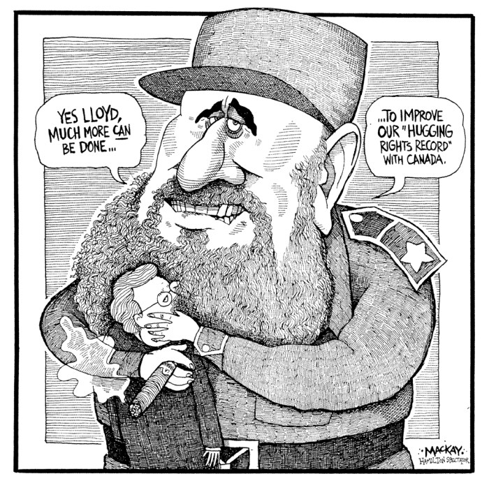 Editorial Cartoon by Graeme MacKay, The Hamilton Spectator Ð Tuesday January 12, 1999 Time for a new look at Cuba It has taken almost 40 years, but the United States is finally beginning to realize that its hard line toward Cuba has failed. President Bill Clinton, better late than never, is recognizing that the trade embargo against Cuba is an ineffective way to promote democracy and human rights in Fidel Castro's dictatorship. Sadly, however, prospects for a rapid thaw in the costly deep freeze between Cuba and the U.S. remain elusive. Two obstacles -- Clinton's reluctance to take bold action to ease the embargo, and Castro's hostility to even limited American overtures toward Cuba -- keep Washington and Havana in a no-win stand-off. It doesn't make sense. An end to American economic sanctions on Cuba can't come a moment too soon. Lifting the embargo has the most potential to force Castro's repressive regime to change. Clinton took a helpful, if modest, step to break the ice last week. He announced a further loosening of sanctions against Cuba, such as expanding direct charter flights to the island, allowing direct mail service, and encouraging exchanges of athletes, scientists and other professionals. Building on an easing of the embargo last March, Clinton is making a tacit admission that American policy toward Cuba is failing. The Americans are heading down the road of dialogue and engagement toward Cuba, as Canada has done for decades. But Clinton is moving too slowly, evidently for fear of upsetting the anti-Castro lobby in Florida and hardline Republican congressmen. A growing number of influential political and business voices want Clinton to take more dramatic action. A non-partisan commission, including Republican heavyweights such as former Secretary of State Henry Kissinger, volunteered to study alternative policies toward Cuba. Clinton should take that opportunity. If the U.S. were to end the embargo,ÊÊCastro would be deprived of his most potent p