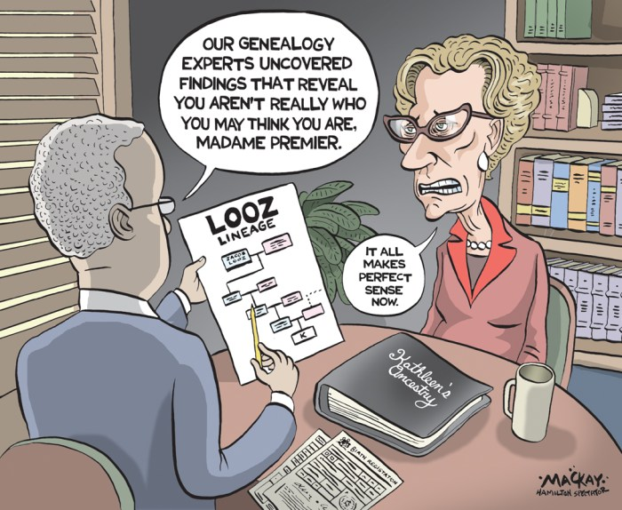 """Editorial Cartoon by Graeme MacKay, The Hamilton Spectator Ð Thursday November 3, 2016 Wynne adviser to step down after OPP charges related to Sudbury byelection Premier Kathleen Wynne's top political adviser has stepped aside as head of the Ontario Liberals' re-election campaign after being charged for alleged bribery during a 2015 byelection. Patricia Sorbara, CEO and director of the 2018 Liberal campaign, and Grit activist Gerry Lougheed face Elections Act charges related to the Sudbury contest. """"In 2015, I said that if any charges were laid as a result of the investigation, then Patricia Sorbara would, of course, step aside and this will happen if charges are laid,"""" a stone-faced Wynne told reporters Tuesday. Her comments came after the Star disclosed both Sorbara and Lougheed would be charged Tuesday by the Ontario Provincial Police and before those charges were official. Sorbara, 60, was charged with two counts of bribery, while Lougheed, 62, was charged with one count of bribery. """"This has been a complex and unprecedented investigation for the OPP anti-rackets branch, which has culminated in bribery charges under the Election Act of Ontario,"""" OPP Commissioner Vince Hawkes said in a statement. The OPP, which said it """"will not comment further in order to protect the integrity of the investigation and the ongoing court processes,"""" issued the 2 p.m. release 15 hours after the Star broke the news. Police swore the information before a justice of the peace on Monday on the eve of formally announcing the charges. Their first court date is set for Nov. 21 in Sudbury. The stunning development, coming against the backdrop of Nov. 17 byelection campaigns underway in Niagara West-Glanbrook and Ottawa-Vanier, followed almost two years of police investigation. More serious criminal charges of bribery were stayed against Lougheed last April, while officers continued their probe into the lesser Elections Act offences. Sorbara, who was Wynne's deputy chief of sta"""