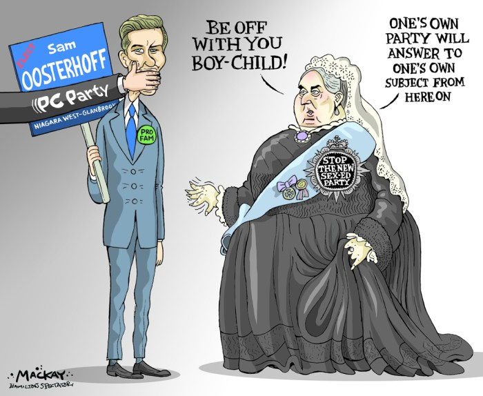 """Editorial Cartoon by Graeme MacKay, The Hamilton Spectator Ð Saturday November 5, 2016 Anti-sex-ed activists form Ontario political party Anti-sex-ed activists in Ontario have formed a new political party and are running candidates in the province's two ongoing byelections. Queenie Yu, who ran as an independent candidate in the recent Scarborough-Rouge River byelection on a platform opposing the Liberal government's updated sex-ed curriculum, is behind the newÊparty. She is running as the Stop the New Sex Ed Agenda candidate in Niagara West-Glanbrook, while Elizabeth de Viel Castel is running as the party's candidate in Ottawa-Vanier. Those votes are set forÊNov. 17. The goal is not necessarily to win a seat, which is highly unlikely, but to send a message that opposition to the Liberal sex-ed curriculum is still alive, Yu said. """"Even though I'm not able to offer supporters a party that can form government, the point is that democracy isn't just about winning seats in the legislature, it's about being a voice for the public,"""" sheÊsaid. """"When you look at the Green party, they've never won a seat but people vote for them because of what they stand for."""" The new curriculum included updates such as warnings about online bullying and sexting, but protesters have taken issue with discussions of same-sex marriage, masturbation and gender identity. The issue dominated the Scarborough-Rouge River campaign after Progressive Conservative Leader Patrick Brown's office released a letter promising that he would scrap the curriculum, thenÊbacktracked on it days later. Brown angered social conservatives by eventually saying he supported the curriculum and the public split has left them looking for a new political home. But Yu believes her new party could also garnerÊsupport from some who traditionally vote Liberal, such as people in the Chinese community. (Source: Hamilton Spectator)Êhttp://www.thespec.com/news-story/6945802-anti-sex-ed-activists-form-ontario-political-pa"""