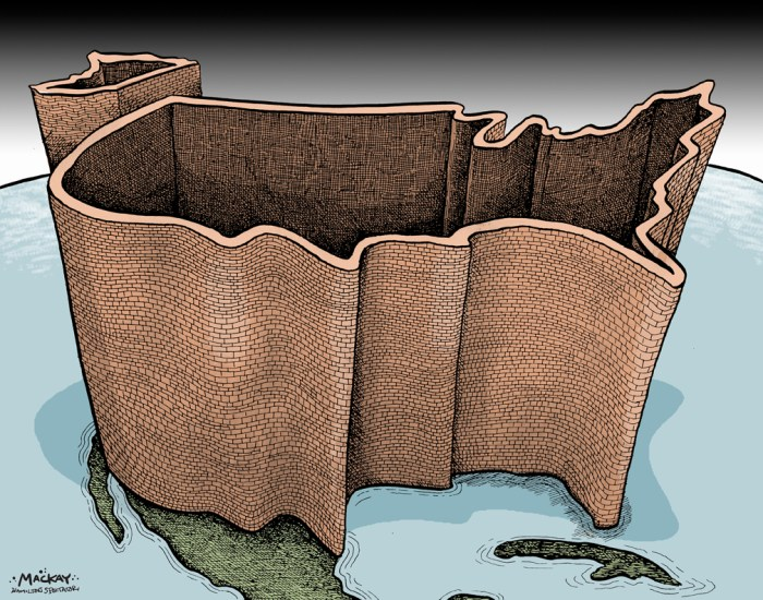 Editorial Cartoon by Graeme MacKay, The Hamilton Spectator - Thursday December 1, 2016 The world according to Trump, and the peril ofÊisolationism We have yet to see the shape ofÊDonald Trump's foreign policy. But as we wait, so do nervous leaders across Europe, Latin America, Asia andÊAfrica. With his arrival in the Oval Office, American alliances and policies forged over decades may well be in play. Meanwhile, in Moscow,ÊPresidentÊVladimir PutinÊsmiles at the election outcome. Hmm. That would be worrisome enough if the U.S. role in geopolitics would start from scratch on Inauguration Day. It won't. PresidentÊBarack ObamaÊalready has reduced America's global involvement and influence. That backward lean is a key reason why Trump will inherit so many foreignÊpolicy predicaments. An America that on his watch slips further to the sidelines, an insular America that regards trouble on the other side of the world as someoneÊelse's problem, would risk eroding diplomatic partnerships and defense pacts. That would imperil American interests overseas and at home:ÊConflicts elsewhere often make themselves felt here. Witness theÊIslamic State-inspired attacks in San Bernardino, Calif., and Orlando, Fla. OrÊremember 9/11.Ê(Continued: Chicago Tribune Editorial)Êhttp://www.chicagotribune.com/news/opinion/editorials/ct-trump-foreign-policy-obama-putin-russia-edit-20161110-story.html This cartoon was colourized from the same image published on September 13, 2001. https://mackaycartoons.net/2001/09/13/thursday-september-13-2001/ USA, maps, wall, isolationism, isolationist, terrorism, security, America, 9/11, Donald Trump
