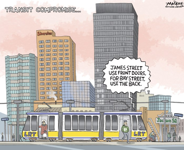 "Editorial Cartoon by Graeme MacKay, The Hamilton Spectator Ð Tuesday December 6, 2016 New push to add LRT stop at Bay Street A late plea for a Bay Street LRT stop is one of several requested route changes project planners will chew on before spitting out a final design next spring. The city's light rail transit stakeholder committee will formally receive a letter from the Hamilton Chamber of Commerce Nov. 29 asking for a Bay Street stop on the east-west leg of the planned $1-billion LRT line. ""It is not a stretch to assume that the Bay Street Station would immediately become the second-busiest station between the two end nodes of the B-line,"" reads the letter signed by representatives from large downtown players such as McMaster University, the art gallery, Carmen's Group and Vrancor. The city and project lead Metrolinx need to submit an updated environmental assessment Ñ including a finalized route Ñ to the province for approval next spring. But there is still time to consider ""reasonable"" change requests based on public feedback, said city LRT point person Paul Johnson. ""We are looking at a number of requests now, things like pedestrian crossings, intersection changes and yes, stop locations,"" he said. ""Just don't ask us to move the whole thing to Main Street. No, we are not going to look at that.Ó Johnson said public suggestions to date have already resulted in a relocated stop to the border of the International Village. Planners are also revisiting the possibility of a Gage Avenue stop based on a ""surprisingly strong"" reaction from the public. Similarly, businesses in the International Village have convinced planners to scope out an additional pedestrian crossing along that section of the King Street line. Other merchants have helped tweak partial intersection and street closures. Johnson wouldn't comment on the likelihood of Bay Street being adopted as a new stop, but noted there are some challenges to adding any new stop. It costs ""a few million doll"