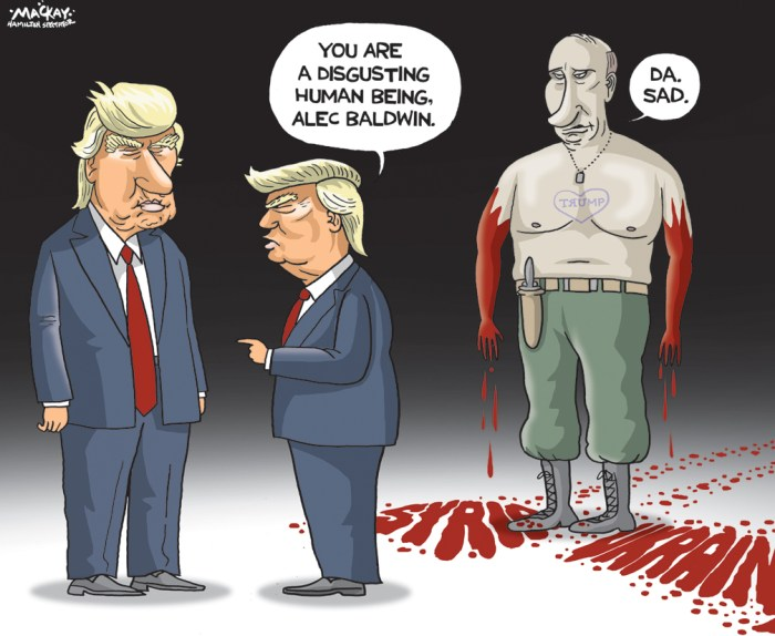 Editorial Cartoon by Graeme MacKay, The Hamilton Spectator - Tuesday December 20, 2016 Will the GOP be the pro-Putin party? Beneath the surface of the controversy overÊRussiaÕs efforts to help Donald Trump become presidentis a dramatic reconfigurationÊof opinion on foreign policy. Many Republicans who had long been critical of Vladimir PutinÕs despotic rule are adjusting their positions to accord with TrumpÕsÊmore sympathetic views. Others are hanging back, fearful of picking a fight with their partyÕs incoming president or underminingÊthe legitimacy of his election. At the same time, PutinÕs fiercest Republican critics, including leading neoconservatives, find themselves allied with HillaryÊClintonÕs supporters. They are calling out the KremlinÕs interference with the election and demanding a full accounting of whatÊhappened. Sens.ÊJohn McCainÊandÊLindsey O. GrahamÊhave been among the most outspoken. While some on the left worry about starting a new Cold War, there has been a broad toughening of liberal and Democratic opinionÊtoward Russia. This shift owes in part to outrage over PutinÕs efforts to sabotage Clinton, but the roots of the mistrust of Putin canÊbe traced back several years. PutinÕs hostility toward Clinton is widely seen as a response toÊher criticism of the 2011 Russian elections, a pointÊshe underscoredÊherself last week. Mass protests broke out against what the opposition saw as PutinÕs vote rigging. At the time, he blamed ClintonÊand the American government for the uprising. (Source: Washington Post)Êhttps://www.washingtonpost.com/opinions/will-the-gop-be-the-pro-putin-party/2016/12/18/a2d22058-c3de-11e6-9a51-cd56ea1c2bb7_story.html?utm_term=.b0976dcc87f0 USA, Russia, Syria, Ukraine, Alec Baldwin, satire, Vladimir Putin, Donald Trump, blood