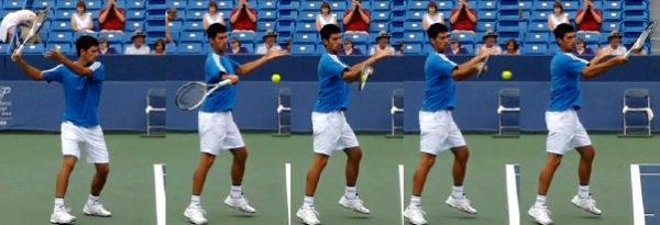 テニス、ストロークは、両足をしっかり地面につけて準備完了