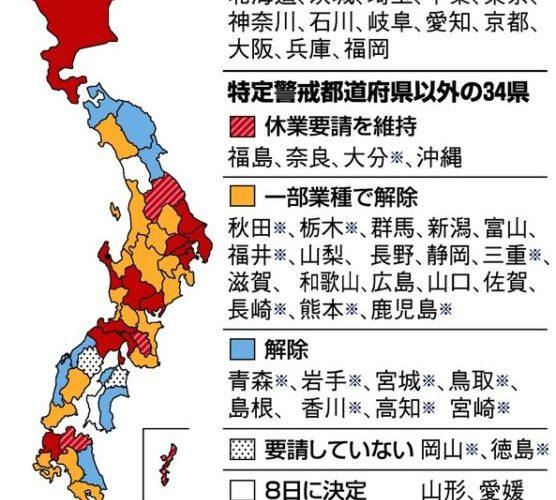 【コロナ】自粛緩和・地図・2020/5/7現在