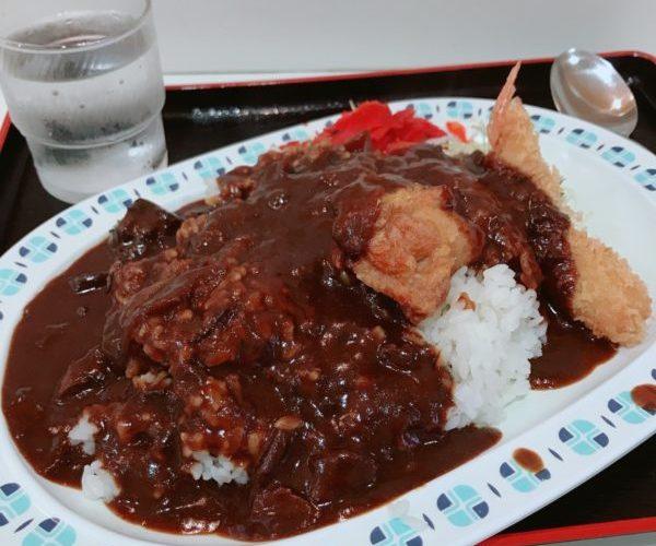 【カレー】エビフライと唐揚げ