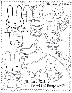 The Little Family of Mr. and Mrs. Bunny, color-your-own Bunny Dolls. Made by Mackenzie Chester for The Paper Doll Club