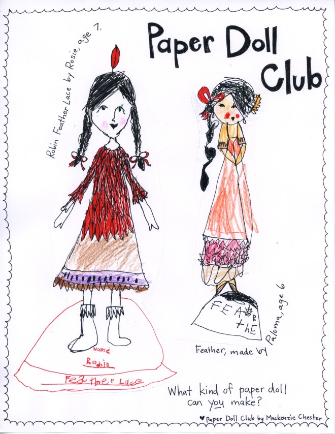 Printable paper dolls made by Rosie and Paloma for The Paper Doll Club, Week #2.
