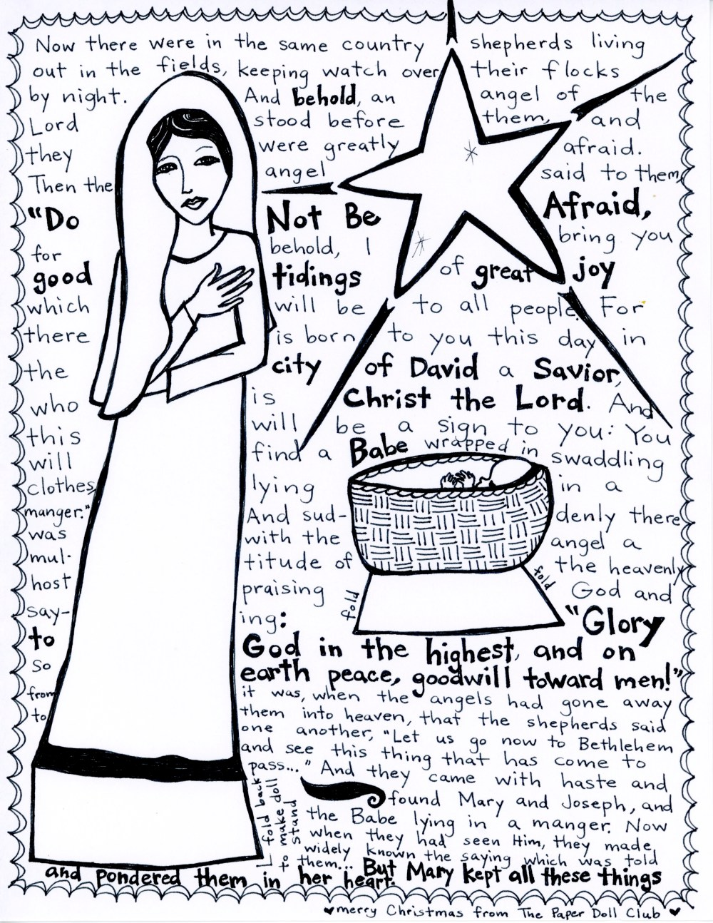 nativity paper doll club