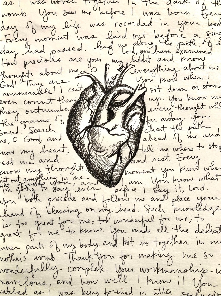 anatomical heart, psalm 139, journal entry, journaling, podcast, the sacred everyday, examine your heart, mackenzie chester