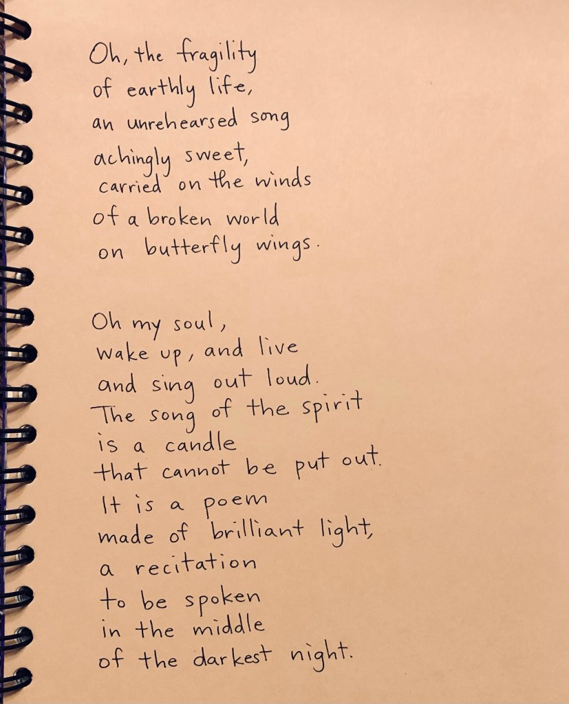 poem at 2 am, hope, butterfly, fragility of life, persistence of the soul, eternal life, spirit, kingdom