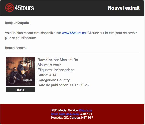 Romaine, de Mack et Ro, disponible pour les radiodiffuseurs via 45tours.ca