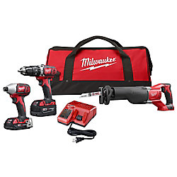 Milwaukee Tool M18 18V Brushed Cordless Combo Kit (3-Tool) with (2) Batteries