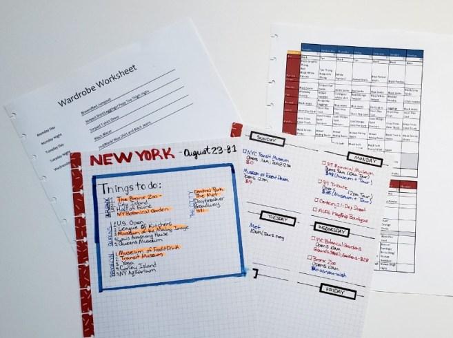 trip planning worksheets