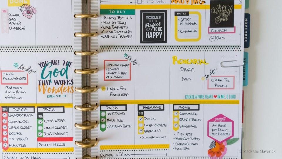 Moving Week Plan