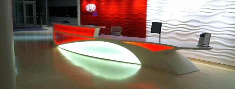 Design Center Reception Desk in Backlit Corian