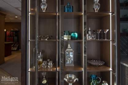chromed glass and walnut display cabinet with automatic lighting