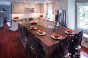transitional Island seating with walnut butcher block and quartzite transition bryn mawr pa