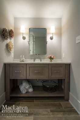 Guest Bathroom Basement Remodel with Quartzite Vanity top