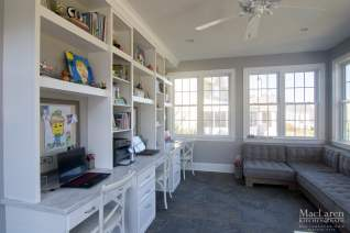 Bright homework room with storage wall and Computer stations