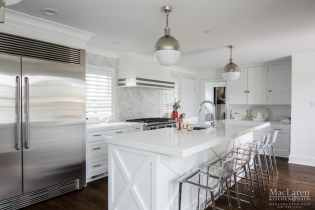 Cambria Quartz Island in White Cliff with Custom Base Paneling for Island Seating
