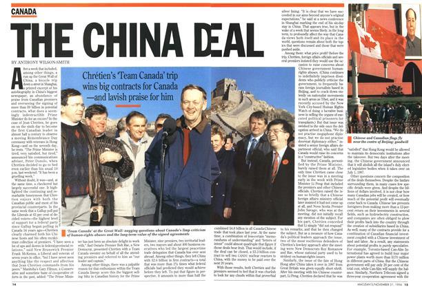 THE CHINA DEAL | Maclean's | NOVEMBER 21, 1994
