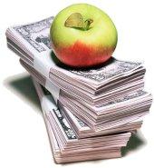 Apple money (maçã em cima de dinheiro)
