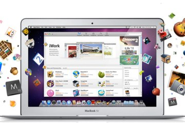 Mac App Store com apps e MacBook Air