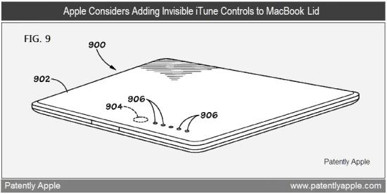 Patente de controles invisíveis em MacBook