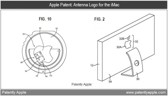 Patente de antena escondida atrás de logo