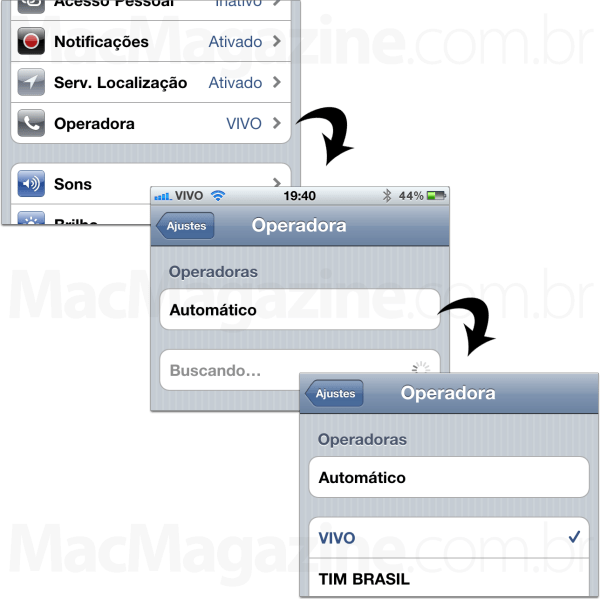 Configurando a operadora manualmente no iPhone