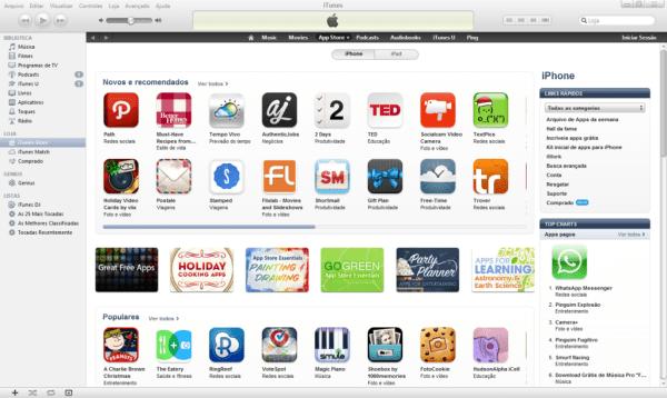 Menu da iTunes Store Brasil