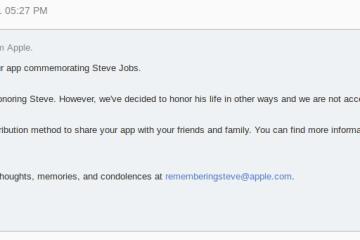 Mensagem de rejeição de app em homenagem a Steve Jobs