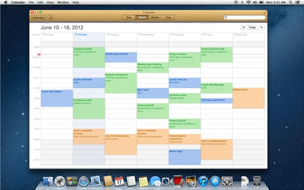 Calendário do OS X Mountain Lion