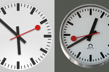 Relógio iPad vs. Swiss railway clock