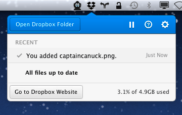 Novo item de menu do Dropbox para Mac