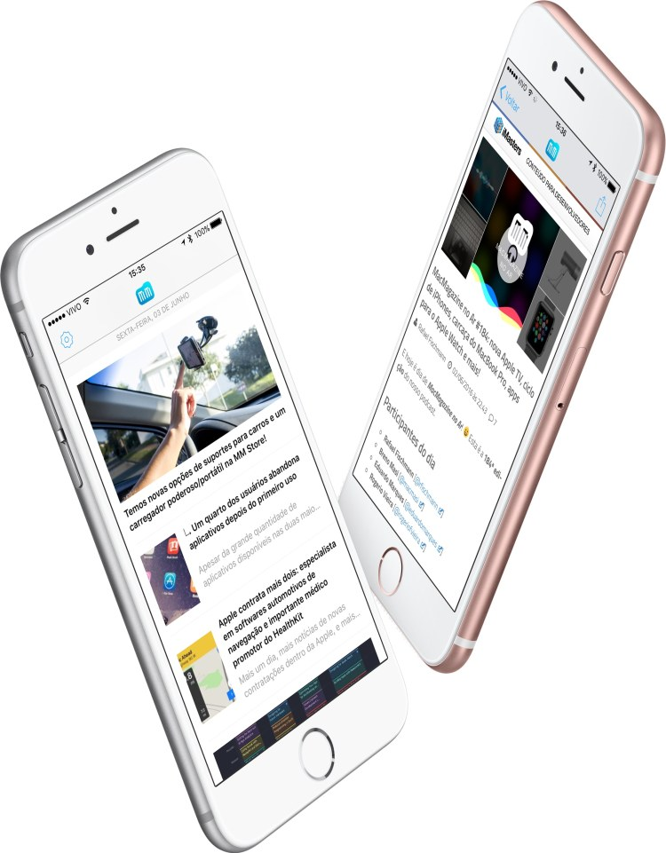 Screenshots do MacMagazine 3.0 em iPhones 6s