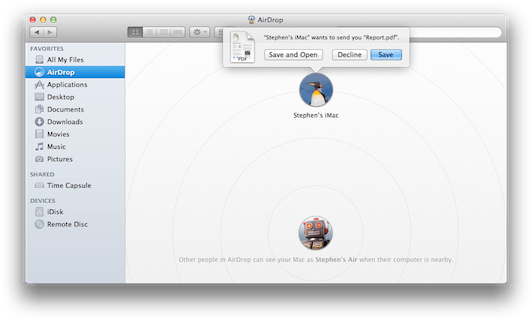 Janela do AirDrop no Mac