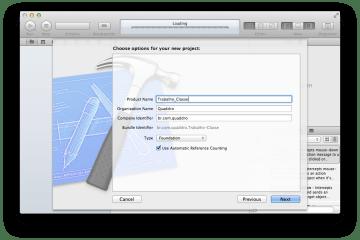 Tipo de projeto no Xcode
