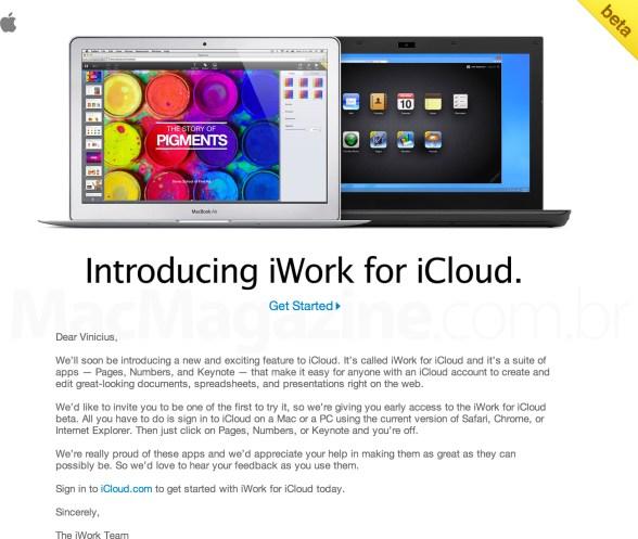 Convite para testar a versão beta do iWork para iCloud