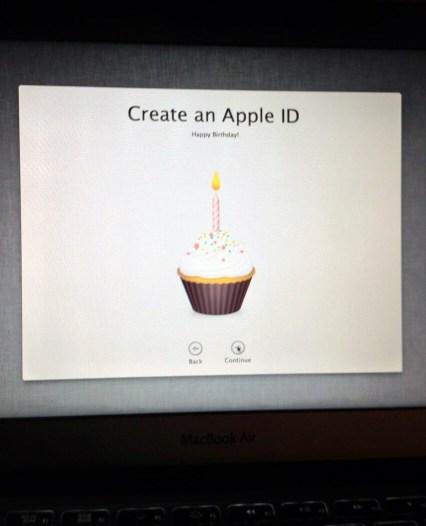 Aniversário na criação de Apple ID