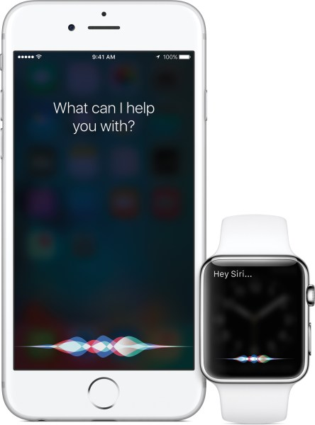 Siri no iOS 9 em um iPhone e no watchOS2 num Apple Watch